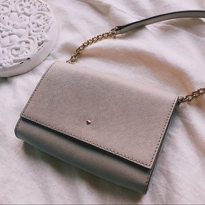 Kate Spade Grey/Gold Chain Crossbody Purse